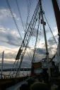 The bridge and mast without sails..