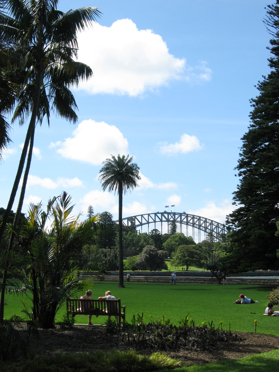 The gardens with harbour bridge in the background